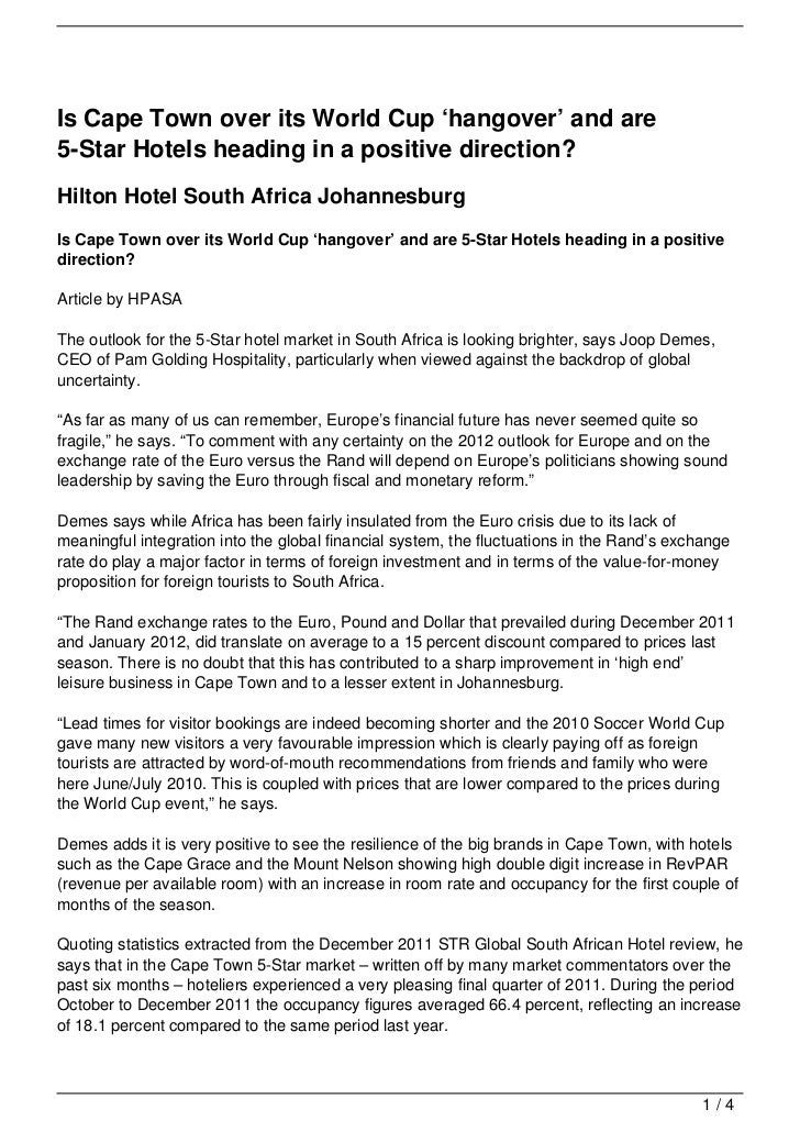 Is Cape Town over its World Cup 'hangover' and are5-Star Hotels heading in a positive direction?Hilton Hotel South Africa ...