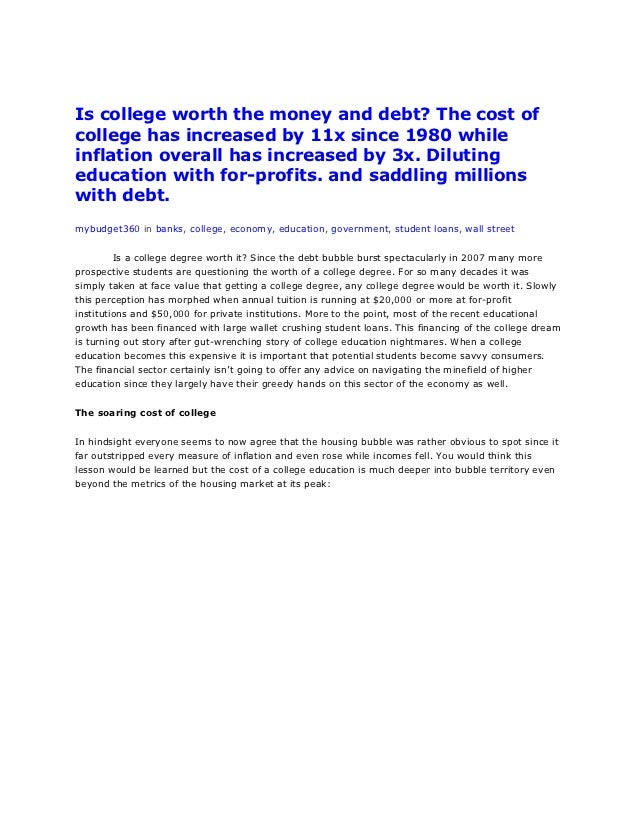 Is college worth the money and debt? The cost ofcollege has increased by 11x since 1980 whileinflation overall has increas...
