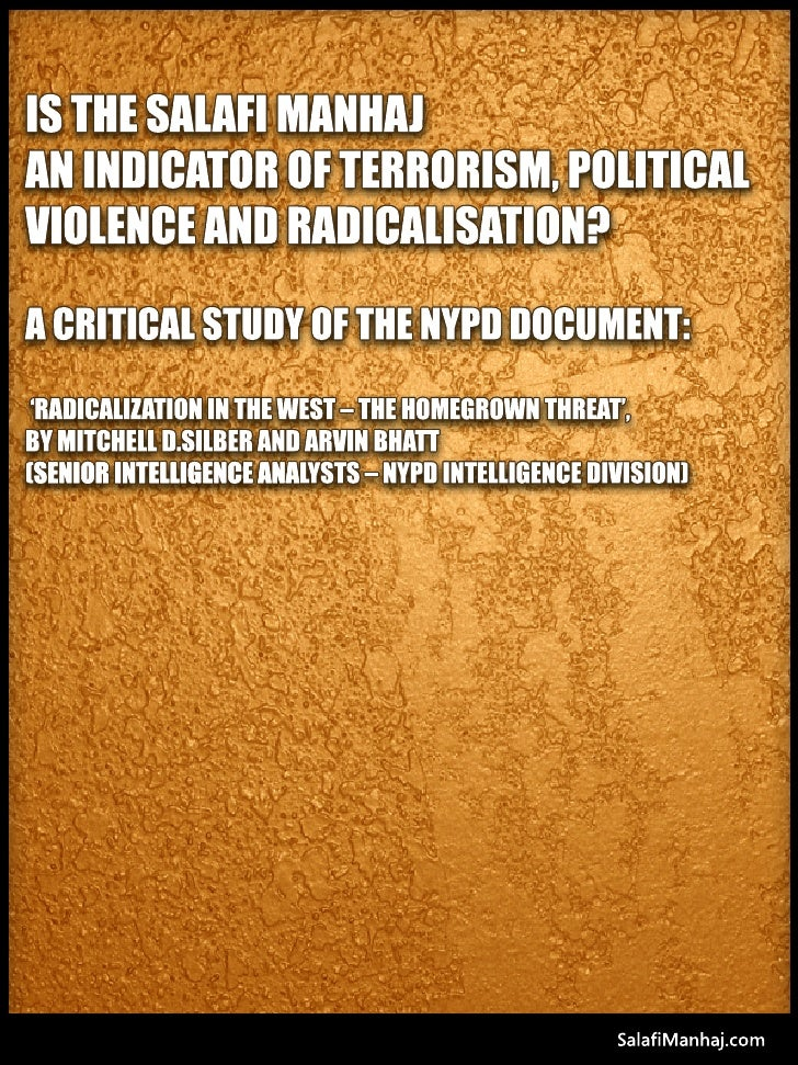 Is D Salafimanhaj An Indicater Of Terrorism, Political Violence & Radicalisation Salafi Manhaj