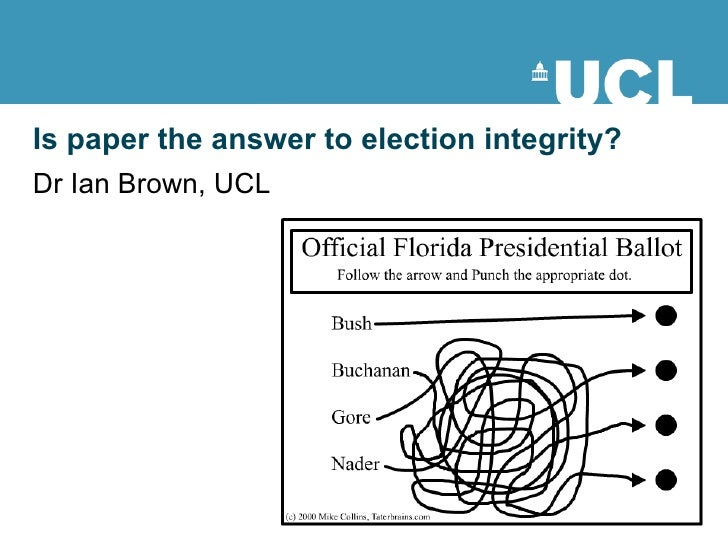 Is paper the answer to election integrity? Dr Ian Brown, UCL