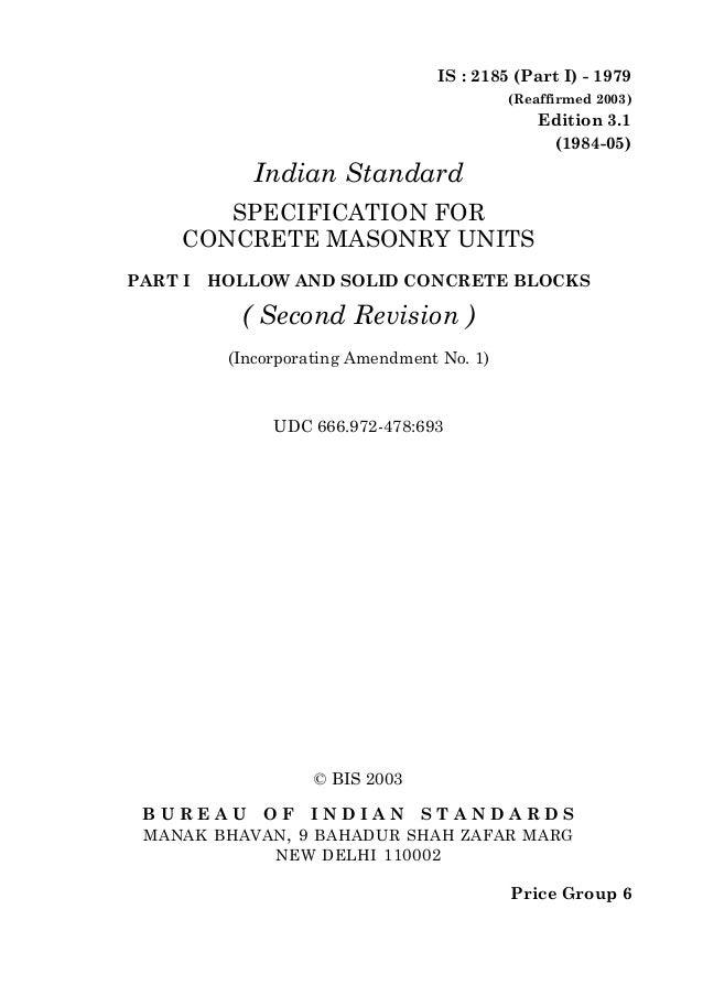 © BIS 2003B U R E A U O F I N D I A N S T A N D A R D SMANAK BHAVAN, 9 BAHADUR SHAH ZAFAR MARGNEW DELHI 110002IS : 2185 (P...