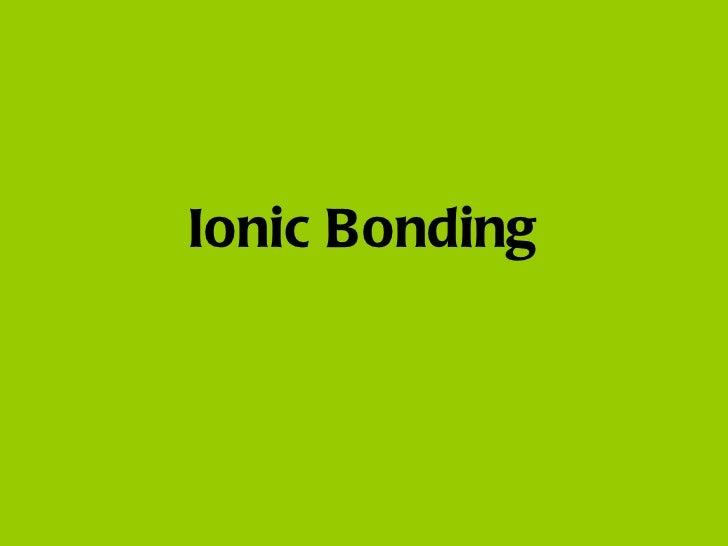 IS2 Ionic Bonding