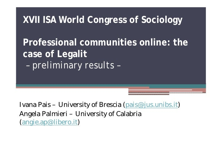 ISA2010 Professional communities online: the case of Legalit