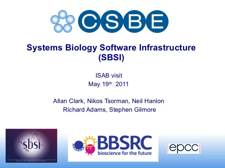 Systems Biology Software Infrastructure  (SBSI)  ISAB visit May 19 th   2011 Allan Clark, Nikos Tsorman, Neil Hanlon Richa...