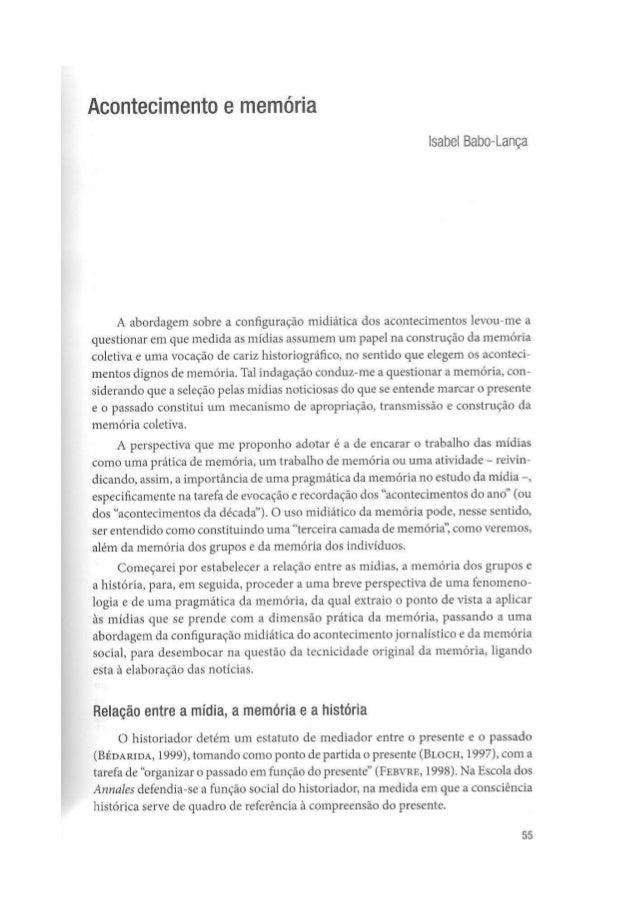 Isabel Babo Lança - acontecimento e memória