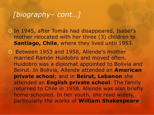 isabel allende's the gold of tomas Isabel allende's the gold of tomas vargas: a study guide from gale's short stories for students (volume 16, chapter 5) isabel allende's the house of the spirits.