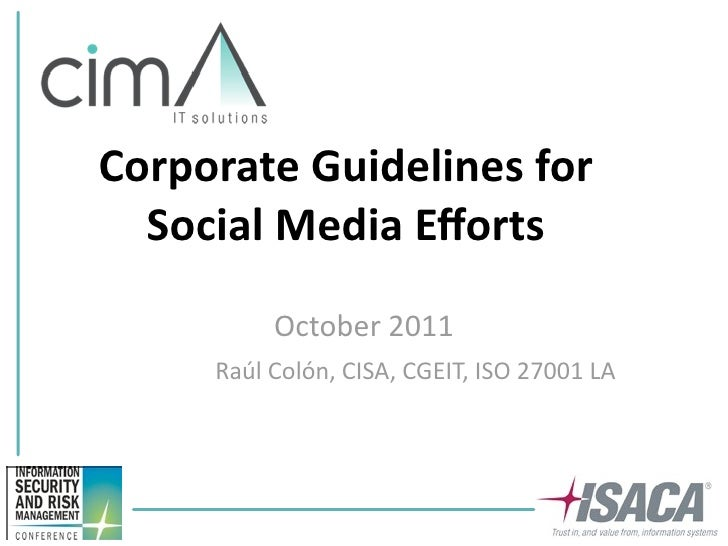 ISACA Corporate Guidelines For Social Media Efforts