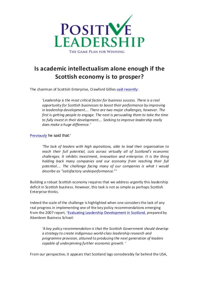 Is  academic  intellectualism  alone  enough  if  the   Scottish  economy  is  to  prosper?   T...
