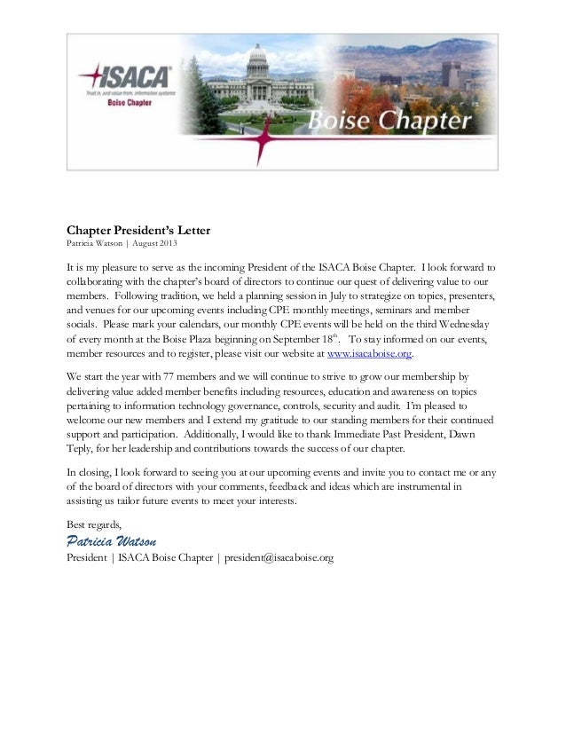 ISACA President Letter | Patricia Watson | 2013