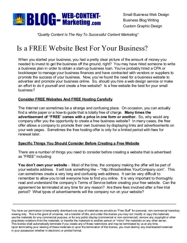 Is a Free Website Best For Your Business