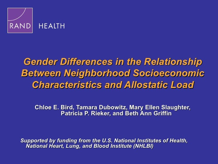 Gender Differences in the Relationship Between Neighborhood Socioeconomic Characteristics and Allostatic Load Chloe E. Bir...
