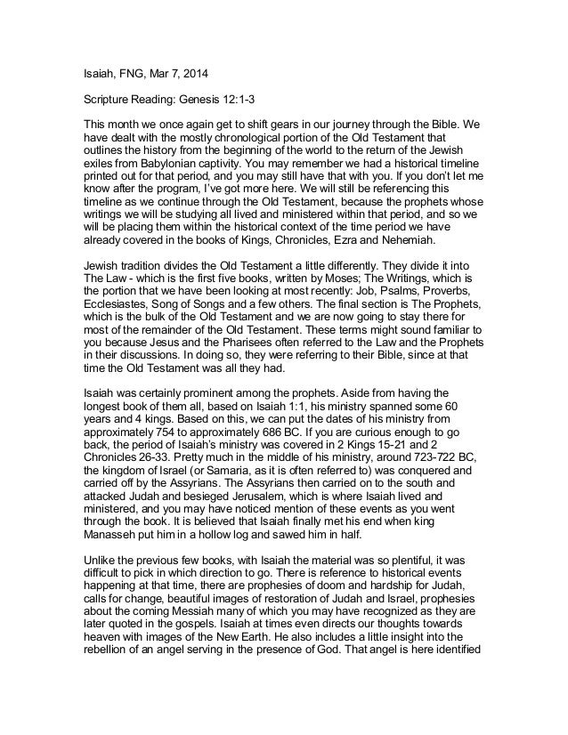 Isaiah, FNG, Mar 7, 2014 Scripture Reading: Genesis 12:1-3 This month we once again get to shift gears in our journey thro...