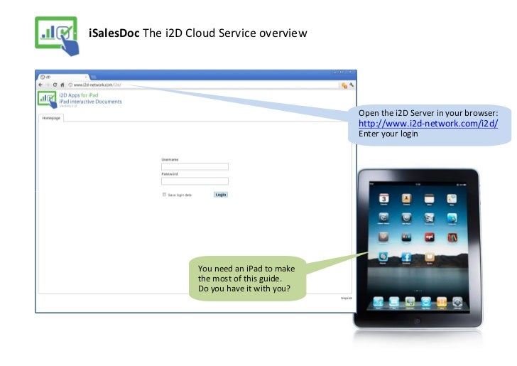 iSalesDoc The i2D Cloud Service overview                                              Open the i2D Server in your browser:...