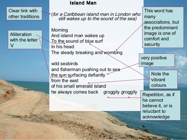 analysis of island man Summary pi and richard parker come to an island populated only by meerkats at first pi remains close to shore and sleeps in the trees while richard parker spen.