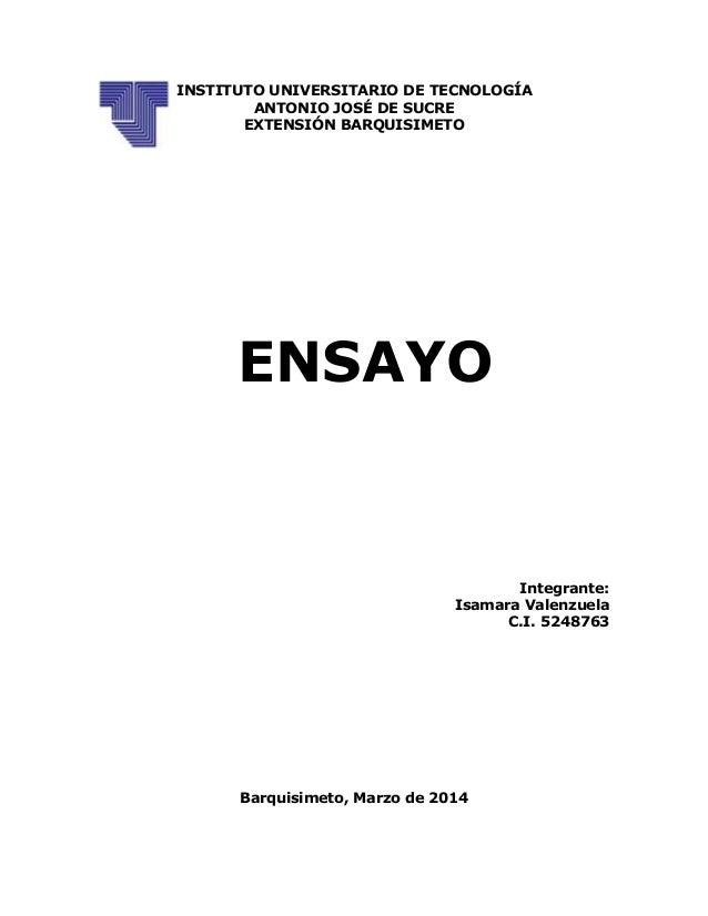 INSTITUTO UNIVERSITARIO DE TECNOLOGÍA ANTONIO JOSÉ DE SUCRE EXTENSIÓN BARQUISIMETO Integrante: Isamara Valenzuela C.I. 524...