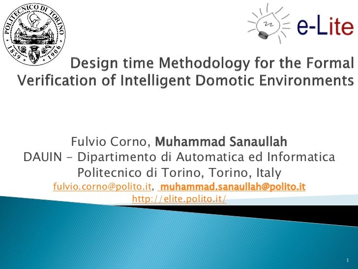 Design time Methodology for the Formal Verification of Intelligent Domotic Environments