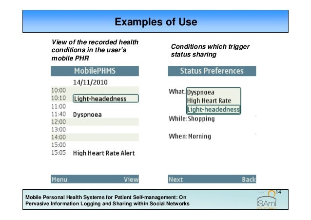 Mobile Personal Health Systems For Patient Self Management