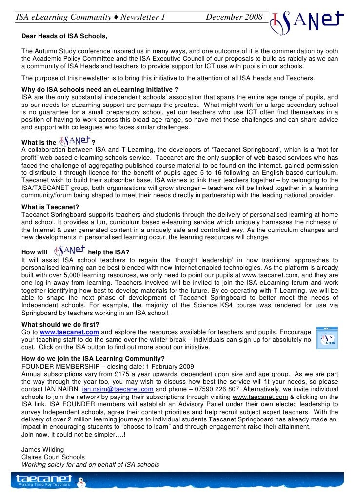 ISA eLearning Community ♦ Newsletter 1                             December 2008   Dear Heads of ISA Schools,   The Autumn...
