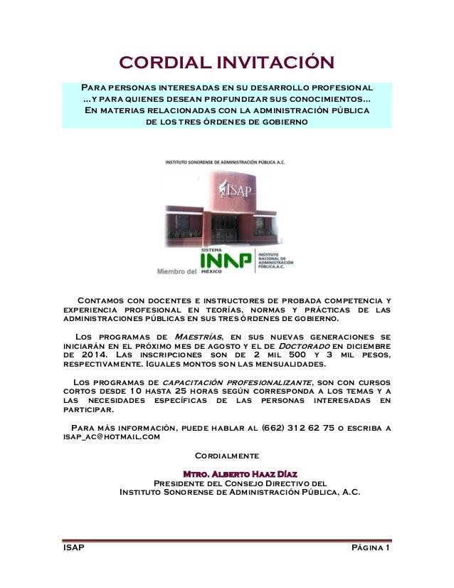 ISAP invita a profesionalización en administración pública