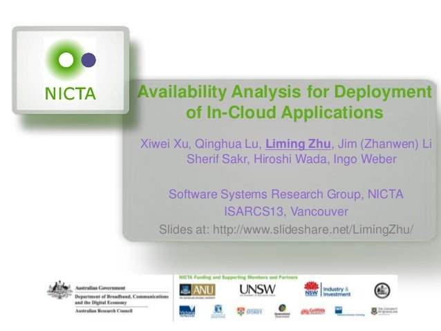 Availability Analysis for Deploymentof In-Cloud ApplicationsXiwei Xu, Qinghua Lu, Liming Zhu, Jim (Zhanwen) LiSherif Sakr,...