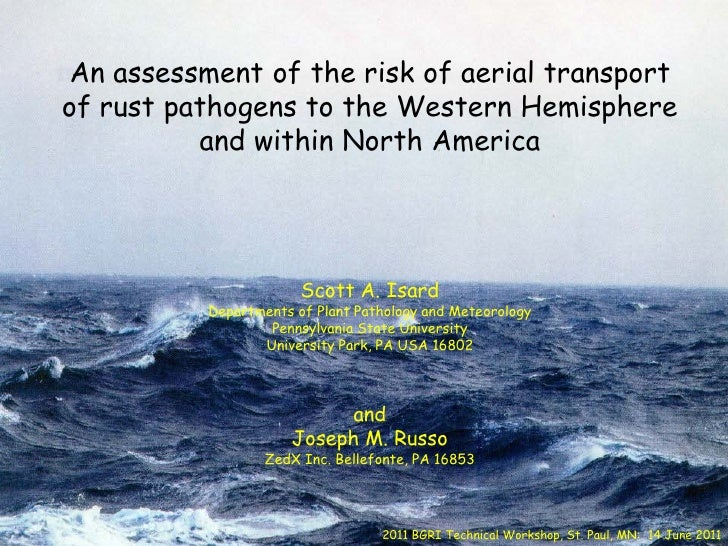 An assessment of the risk of aerial transportof rust pathogens to the Western Hemisphere          and within North America...
