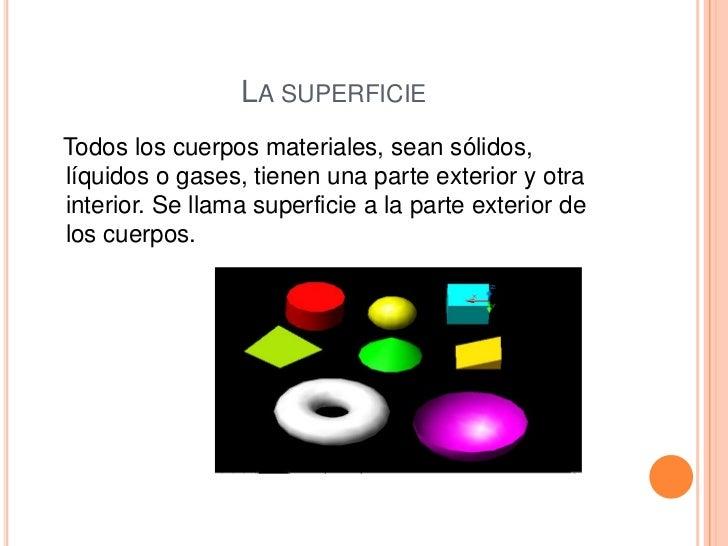 LA SUPERFICIETodos los cuerpos materiales, sean sólidos,líquidos o gases, tienen una parte exterior y otrainterior. Se lla...