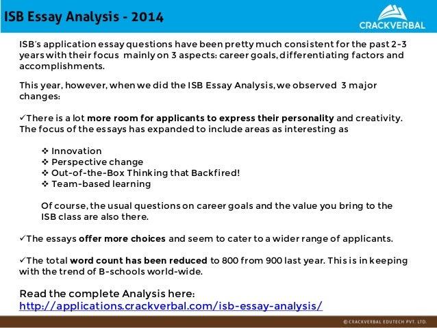 Isb essay analysis