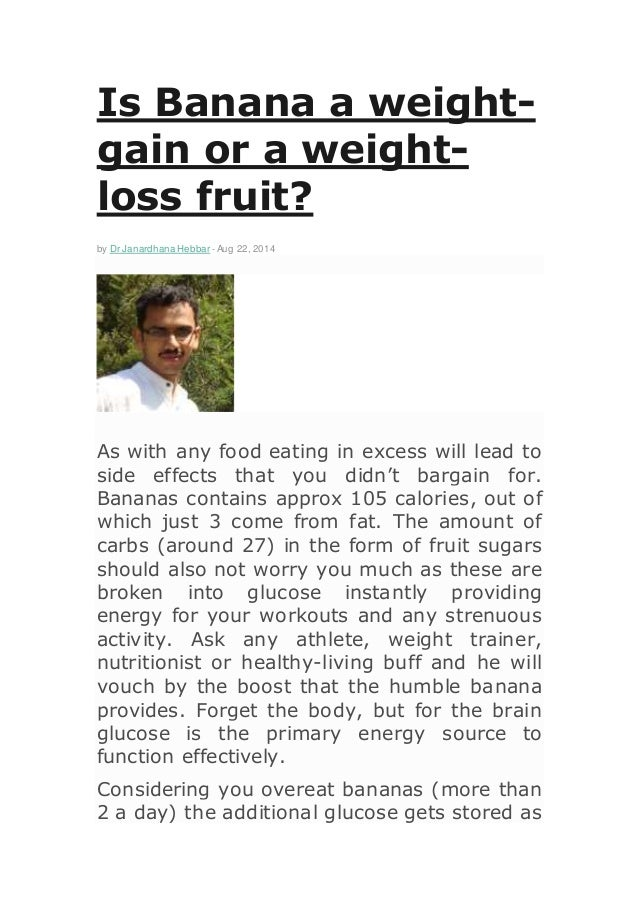 Weight Gaining Fruits is Banana a Weight Gain or a