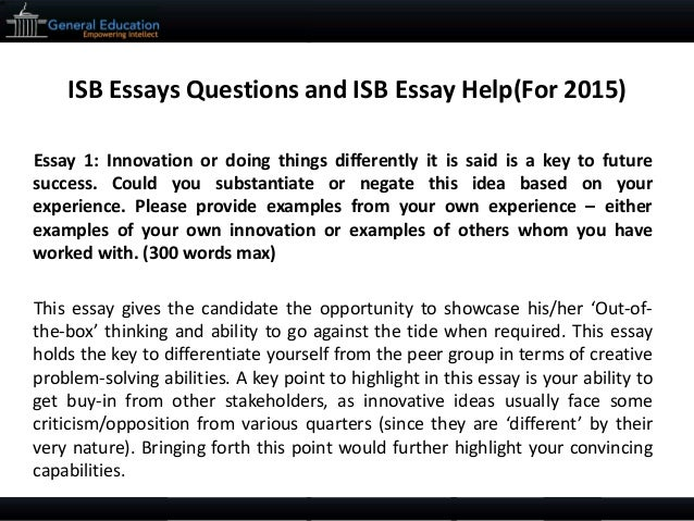 Help for writing ISB essays?