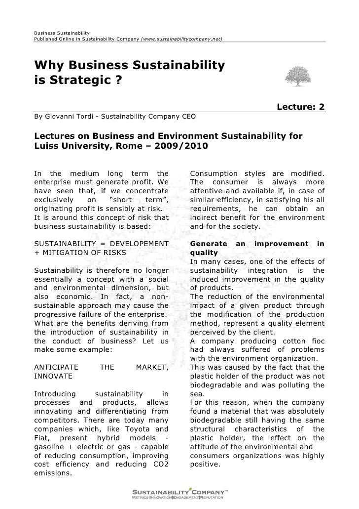 Business Sustainability Published Online in Sustainability Company (www.sustainabilitycompany.net)     Why Business Sustai...