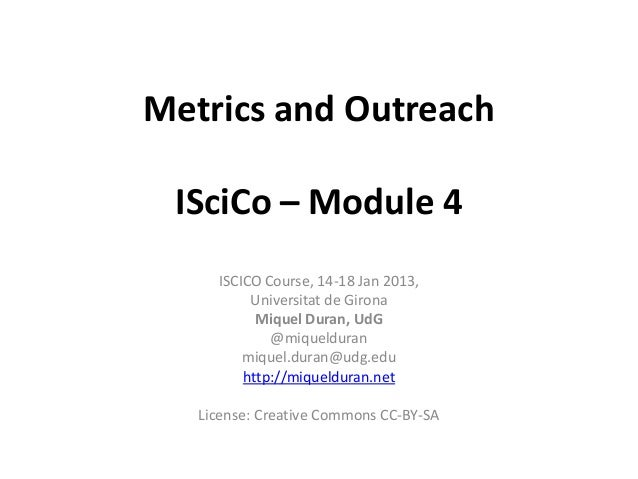 Iscico Module 4 - Metrics and Outreach