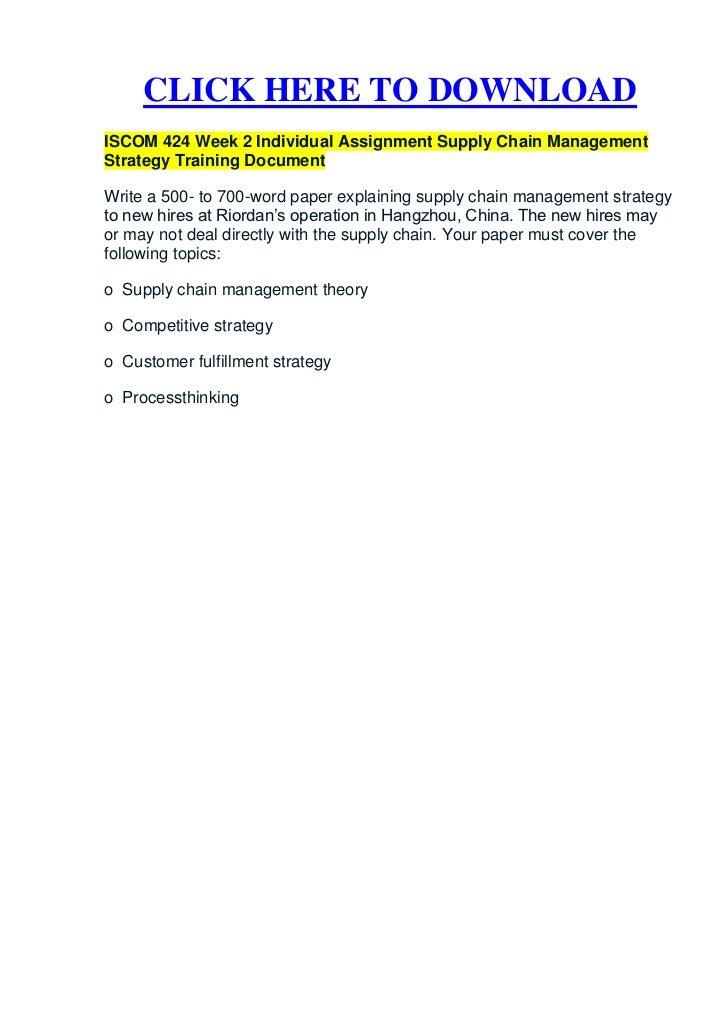 homework supply chain management Opim 4050 supply chain management – homework 2  syst 4050 supply chain management author: menkes van den briel last modified by: menkes van den briel created date:.