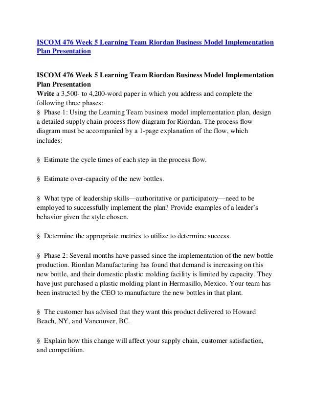 riordan business model implementation plan presentation