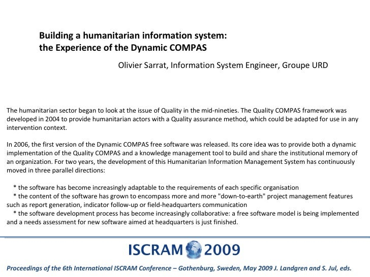 Building a humanitarian information system: the Experience of the Dynamic COMPAS Olivier Sarrat, Information System Engine...