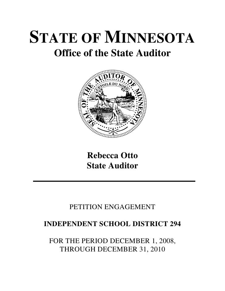 STATE OF MINNESOTA   Office of the State Auditor           Rebecca Otto           State Auditor       PETITION ENGAGEMENT ...