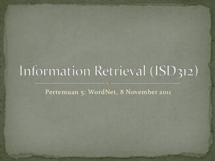 Pertemuan 5: WordNet, 8 November 2011