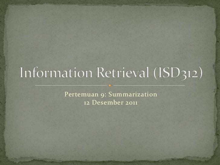 Pertemuan 9: Summarization     12 Desember 2011