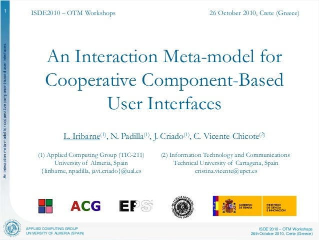 APPLIED COMPUTING GROUP UNIVERSITY OF ALMERIA (SPAIN) ISDE'2010 – OTM Workshops 26th October 2010, Crete (Greece) Anintera...