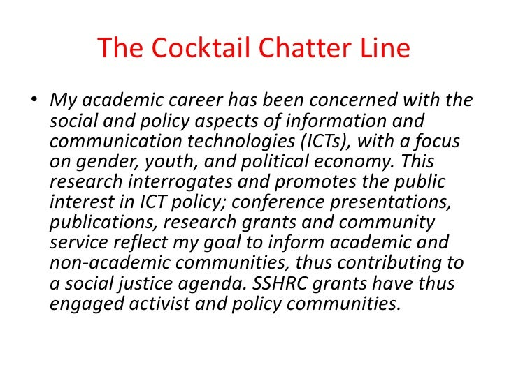 The Cocktail Chatter Line<br />My academic career has been concerned with the social and policy aspects of information and...
