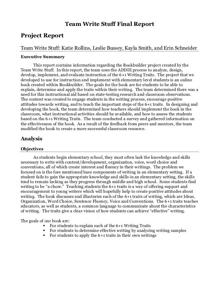 Team Write Stuff Final ReportProject ReportTeam Write Stuff: Katie Rollins, Leslie Bussey, Kayla Smith, and Erin Schneider...
