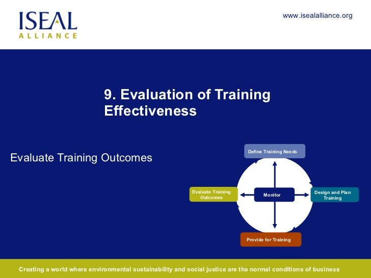 9. Evaluation of Training Effectiveness Evaluate Training Outcomes Define Training Needs Provide for Training Monitor Desi...