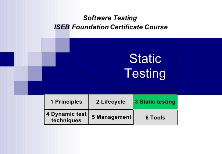 Static Testing 1 Principles 2 Lifecycle 4 Dynamic test techniques 3 Static testing 5 Management 6 Tools Software Testing  ...