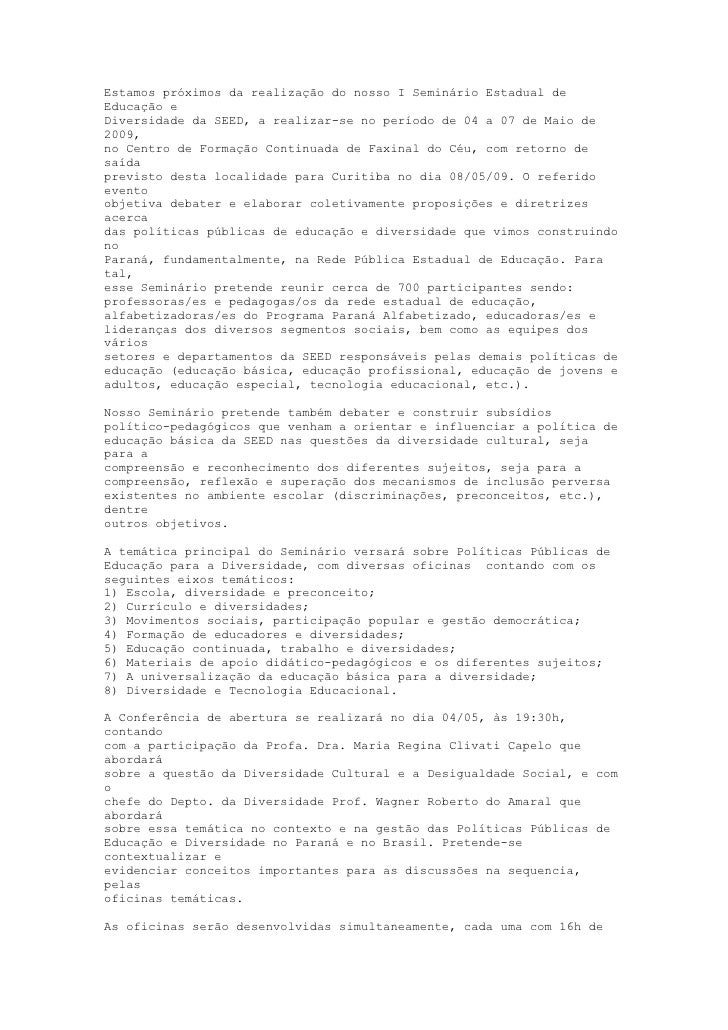 I SemináRio Estadual De EducaçãO E Diversidade Paraná