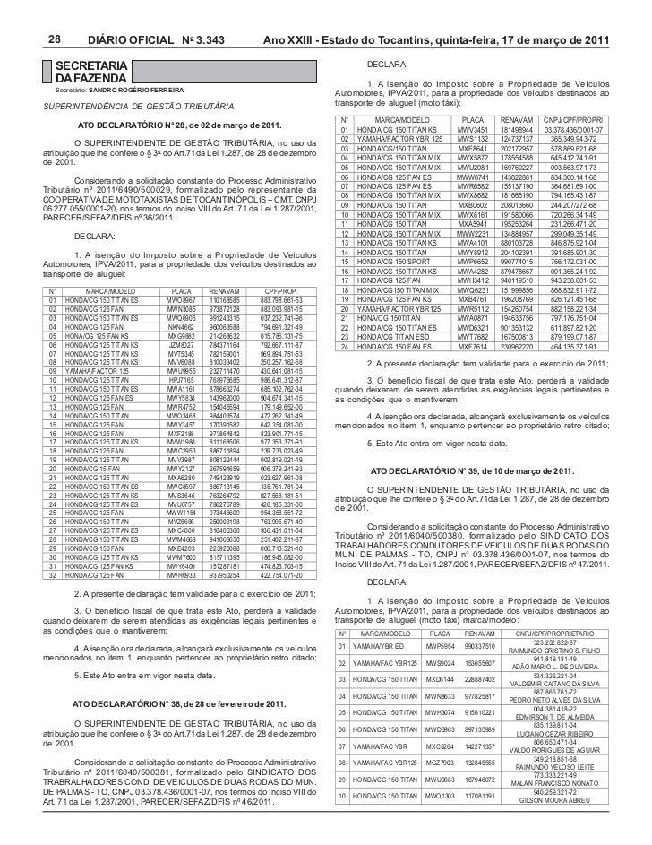 28         DIÁRIO OFICIAL No 3.343                         Ano XXIII - Estado do Tocantins, quinta-feira, 17 de março de 2...