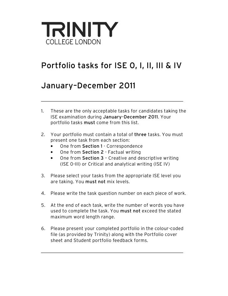 Portfolio tasks for ISE 0, I, II, III & IVJanuary–December 2011        December1.   These are the only acceptable tasks fo...