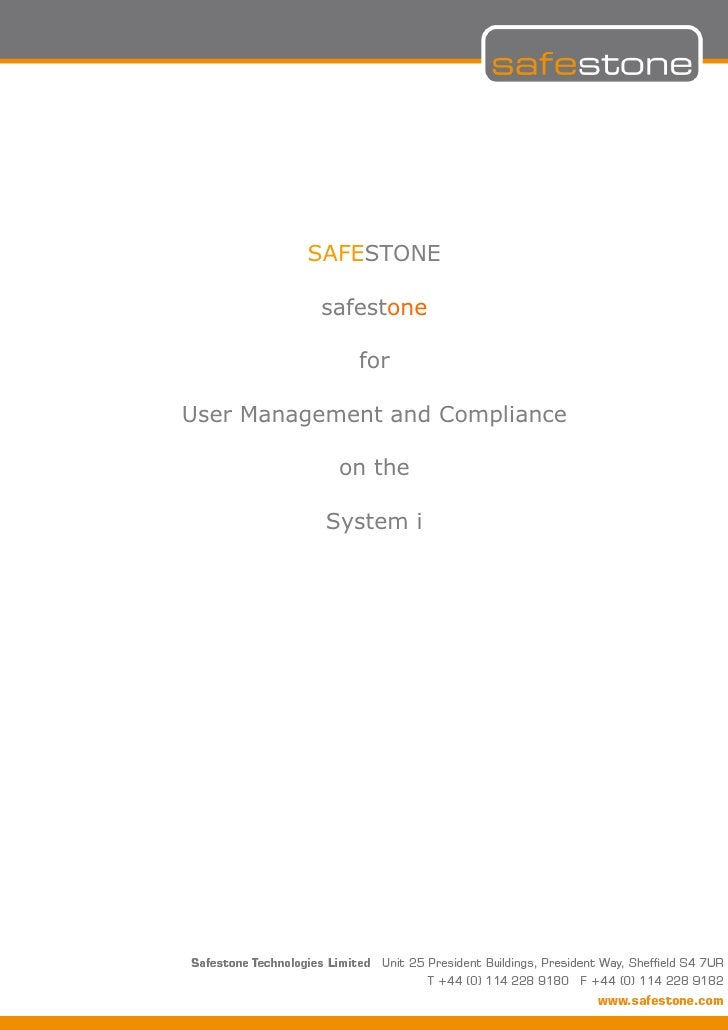 SAFESTONE          safestone             forUser Management and Compliance            on the           System i