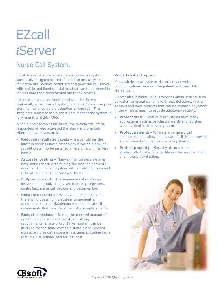 I server nurse call sales doc