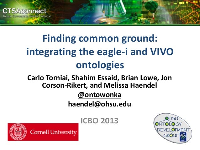 Finding common ground: integrating the eagle-i and VIVO ontologies Carlo Torniai, Shahim Essaid, Brian Lowe, Jon Corson-Ri...