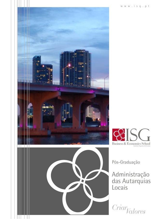 Pós Graduação em administração das autarquias locais ISG 2013