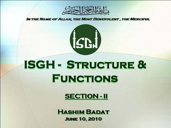 ISLAMIC SOCIETY OF GREATER HOUSTON, Functions and Facilities, Section - II / V